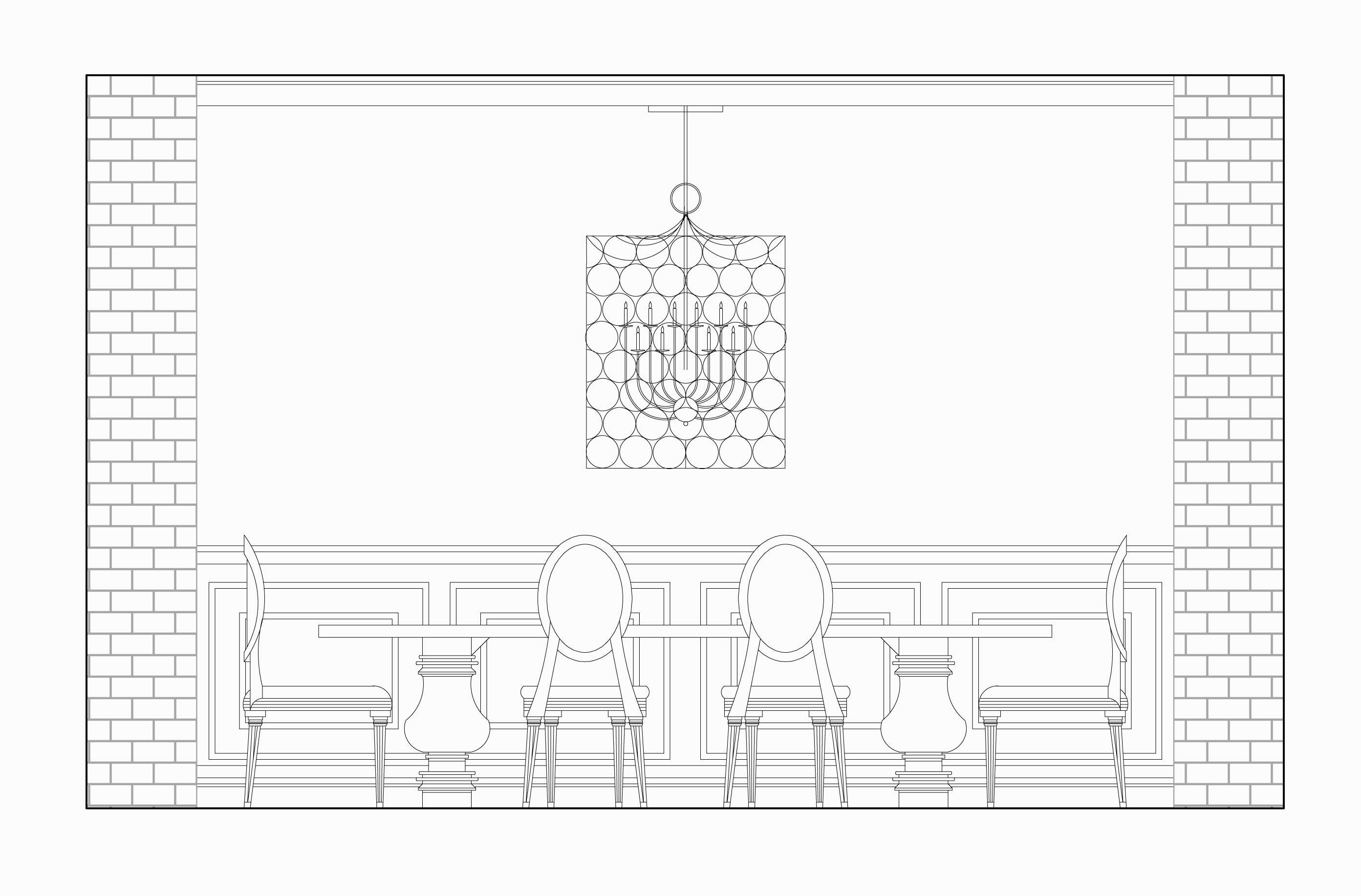 2 d plans elevations sections genzen design for Dining room elevation