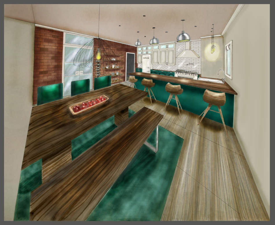 Kitchen / Dining Design and Hand Rendering