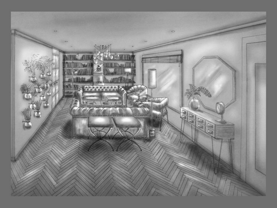 Living Room Design and Hand Rendering